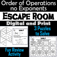 Order of Operations Without Exponents Game: Escape Room Math