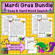Mardi Gras Word Searches - Easy and Hard
