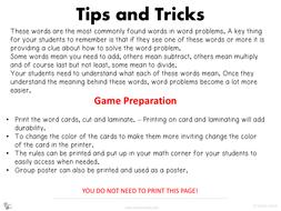 Word Problem Clue Math Game