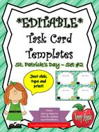 EDITABLE Task Card Templates - St. Patrick's Day - Set 2 - Commercial and Personal Use
