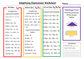 Simplifying Expressions Differentiated Worksheet with Answers