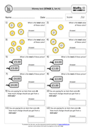 Maths ID Money tests (STAGES 1 - 25, Set A)