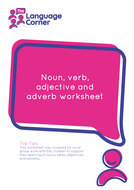 Noun, Verb, Adjective + Adverb Worksheet