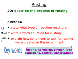 Yr8 Rusting and balancing equations
