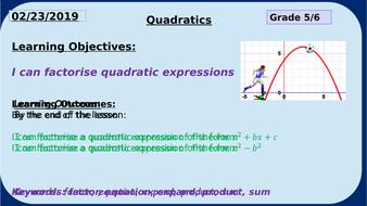 Factorise Quadratic Expressions