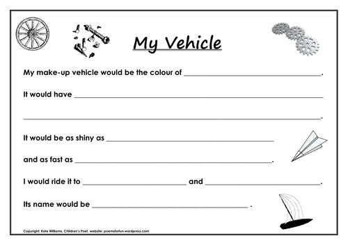 My Vehicle - invent-a-vehicle writing sheet