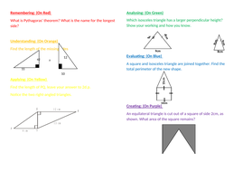 Blooms style Pythagoras Assessment