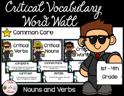 Critical Nouns & Verbs Vocabulary Word Wall {1st-4th Grade version}