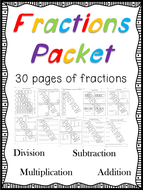 Fraction Pack - 30 Pages Full of Fractions - No Prep Needed!
