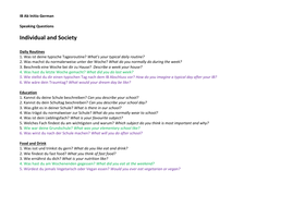 Ab Initio Speaking Questions - Topic based