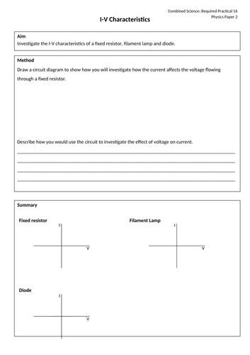 Current-Voltage Characteristics Required Practical AQA GCSE Science