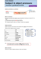 GCSE Spanish pronouns FULL REVISION GUIDE & ACTIVITIES