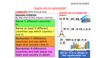 French Countries and Nationalities