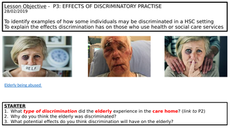 LEVEL 3: Unit 2 (P3) Effects of discriminatory practise in health and social care settings