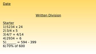 Written Division Lesson Presentation