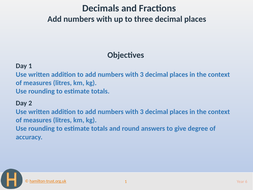 Add numbers with up to 3 decimal places - Teaching Presentation - Year 6