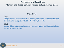 Multiply/divide 2-place decimal numbers - Teaching Presentation - Year 6