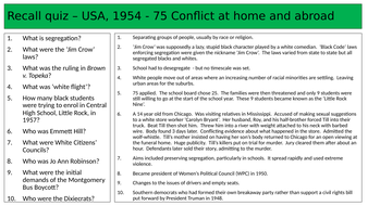Revision quiz USA Conflict at home and abroad