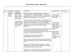 Rosa Parks Series of PSHE Lessons for Black History Week or Women's History Month