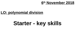 AS Polynomial division and the factor theorem