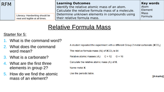 Relative Formula Mass Revision (AQA New Specification 9-1)