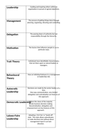 AQA AS Business Chapter 2 Managers, Leadership and decision making card sort