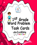 1st Grade Word Problem Task Cards | Story Problems (A Yearlong BUNDLE)