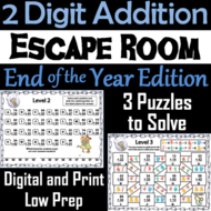 Double Digit Addition Without Regrouping Game: End of Year Escape Room Math