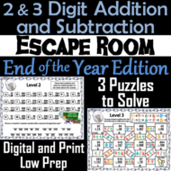 2 and 3 Digit Addition and Subtraction W & WO Regrouping Escape Room End of Year