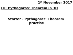 Pythagoras' Theorem in 3D (and differentiated Pythagoras' questions)