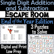 Single Digit Addition and Subtraction Game: End of Year Escape Room Math