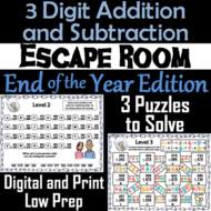 Triple Digit Addition and Subtraction Game: Math Escape Room End of Year/ Summer