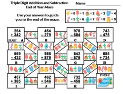 Triple Digit Addition & Subtraction End of Year/ Summer Math Maze