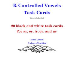 R-Controlled Vowels Task Cards or Worksheets with ar, er, ir, or, ur