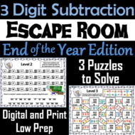 Triple Digit Subtraction With and Without Regrouping: End of Year Escape Room