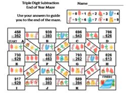 Triple Digit Subtraction End of year/ Summer Math Maze