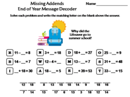 Missing Addends End of Year Math Activity: Message Decoder