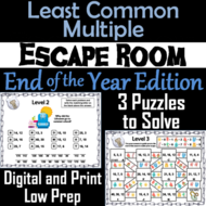 End of Year Escape Room Math: Least Common Multiple Game ...