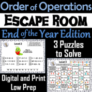 End of Year Escape Room Math: Order of Operations Game (4th 5th 6th 7th Grade)