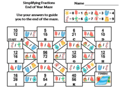 Simplifying Fractions Activity: End of Year/ Summer Math Maze