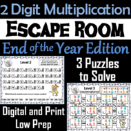 End of Year Escape Room Math: Two Digit Multiplication Game (3rd 4th 5th Grade)
