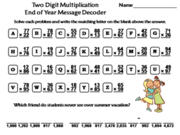 Two Digit Multiplication End of Year/ Summer Math Activity: Message Decoder