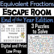 Equivalent Fractions Escape Room End of Year Math Activity