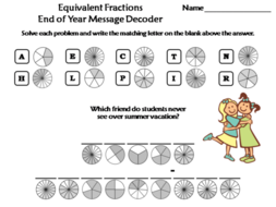 Equivalent Fractions End of Year Math Activity: Message Decoder