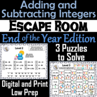 Adding and Subtracting Integers Game: Escape Room End of Year Math Activity