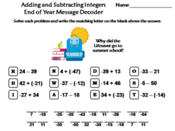Adding and Subtracting Integers End of Year Math Activity: Message Decoder