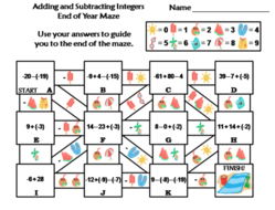 Adding and Subtracting Integers Activity: End of Year Math Maze