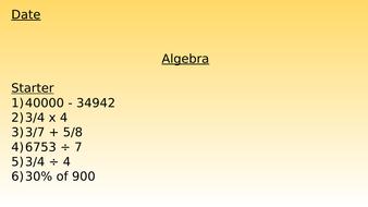Algebra - Variables (Year 6 WRM)