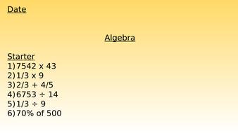 Algebra - SATs Questions