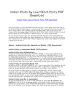 Indian Polity by Laxmikant Polity PDF Download